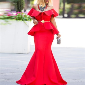 Red Maxi Dress Off Shoulder Bodycon Women Sexy Ruffles Elegant Christmas Dresses Plus Size Evening Party Long Robes for Women