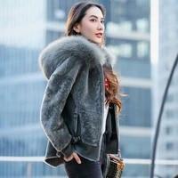 wool fox fur collar genuine hooded female jacket womens winter jackets 2020 sheep shearing coat vetement femme zjt647