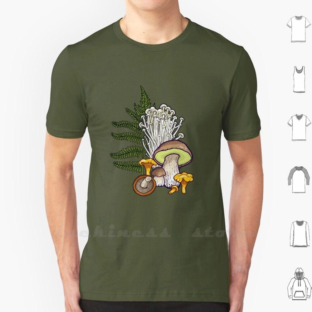 Mushroom Forest T Shirt Cotton Men Women Teenage Fungus Chanterelle Portobelo Bolete Oyster Truffle Maitake Enok Boletus