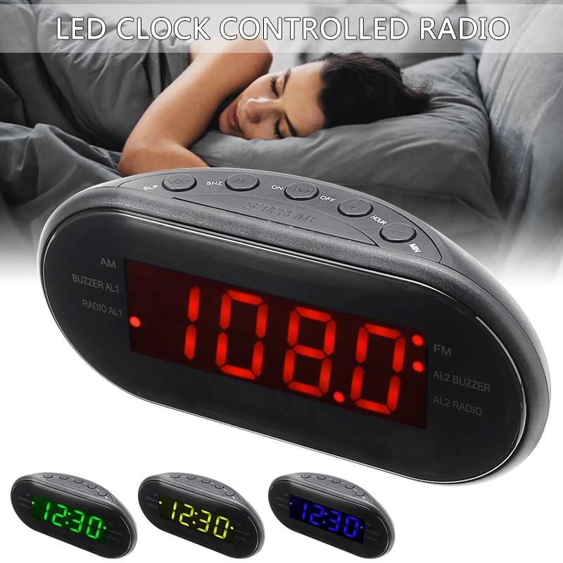 Reloj Digital LED NEGRO, reloj despertador con Radio FM/AM y función de repetición de 24 horas, reloj despertador para mesita de noche