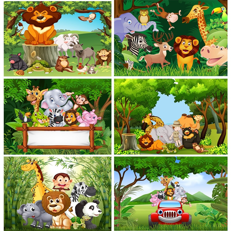 SHENGYONGBAO Vinyl Custom Photography Backdrops Cartoon Animals Zoo Kids Baby Birthday Theme Photo Studio Backgrounds YAXU-202