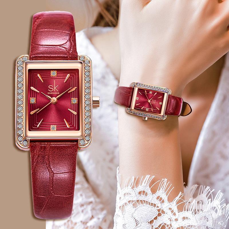Elegant Lady Dress Watches Genuine Leather Rhinestone Simple Mimalsim Women Watch Business Casual Quartz Wristwatch for Feamle