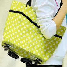 طوي البوليستر القماش المواد المنزلية حقيبة عربة التسوق المتداول عربة بعجلات حمل حقيبة يد البقالة العملي حقيبة تسوق