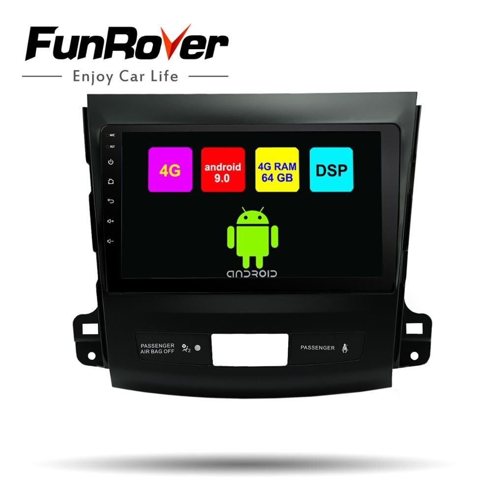 Funrover android 9,0 2din coche multimedia dvd gps para Mitsubishi Outlander 2006-2014/Peugeot 4007/Citroen C-Crosser 8 core ESTÉREO