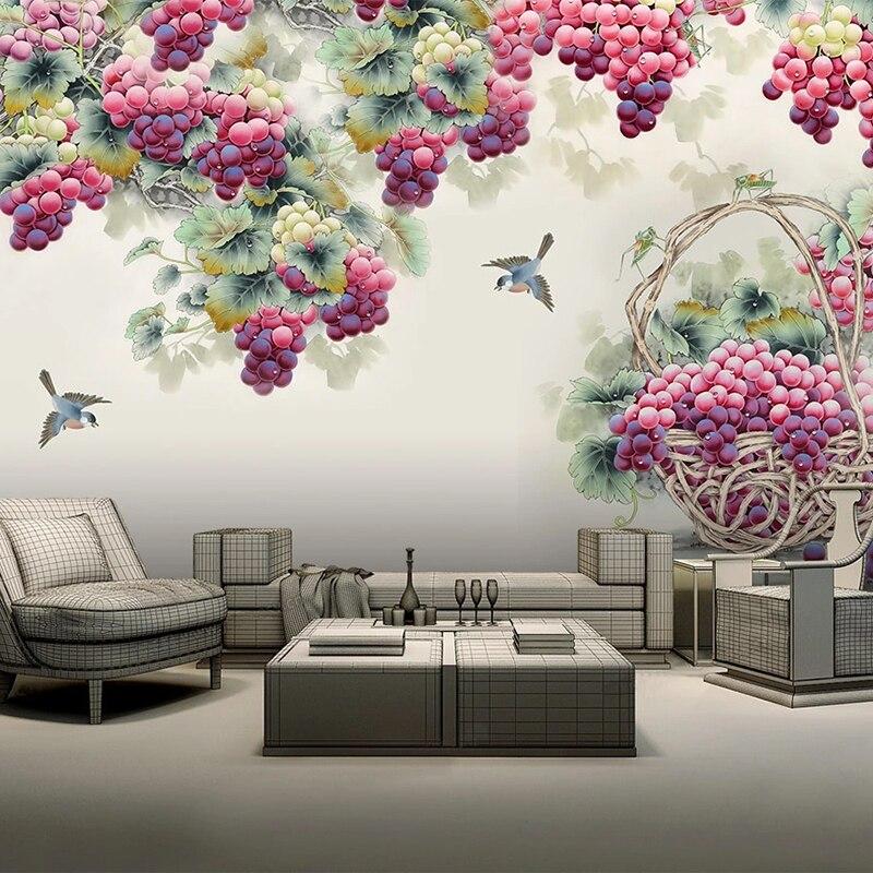 3D настенные фрески на заказ, настенная бумага, ручная роспись, фрукты, фиолетовый виноград, фон для телевизора, настенная роспись, гостиная, спальня, домашний декор, настенная бумага
