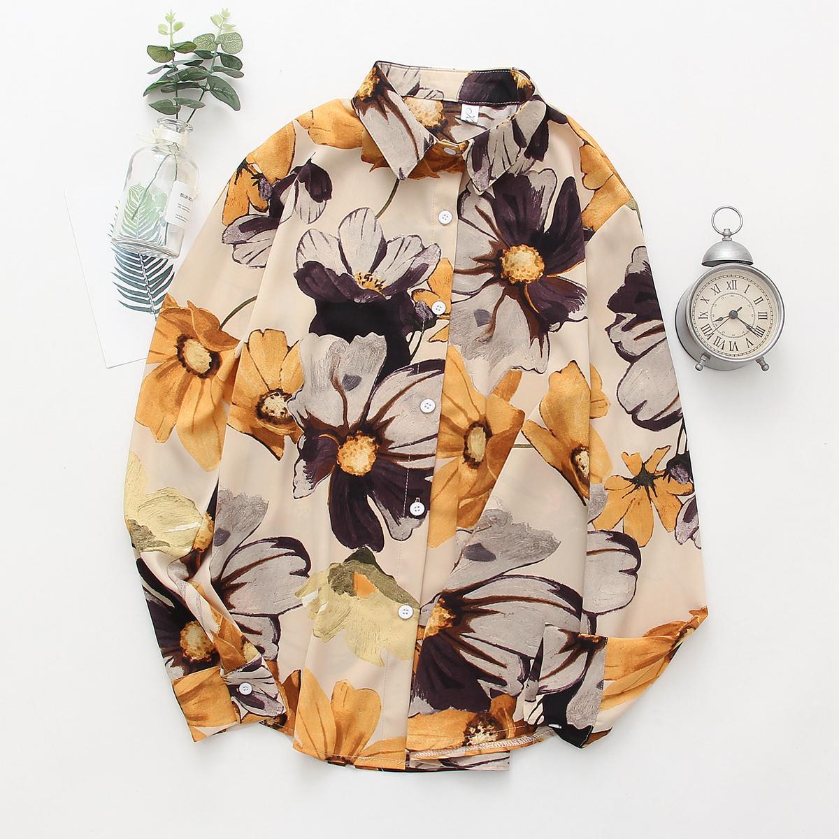 2020 Summer Hawaii Floral Shirts Women Blouses Long Sleeve Shirt Camisas Femininas Female Tops Fashion Blusas Mujer