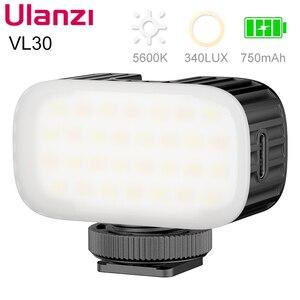 Светодиодный мини-светильник Ulanzi VL30 5500K для видеосъемки, перезаряжаемый светильник для камеры GoPro 9 8 iPhone 12 Pro Max 11 X Xs Max