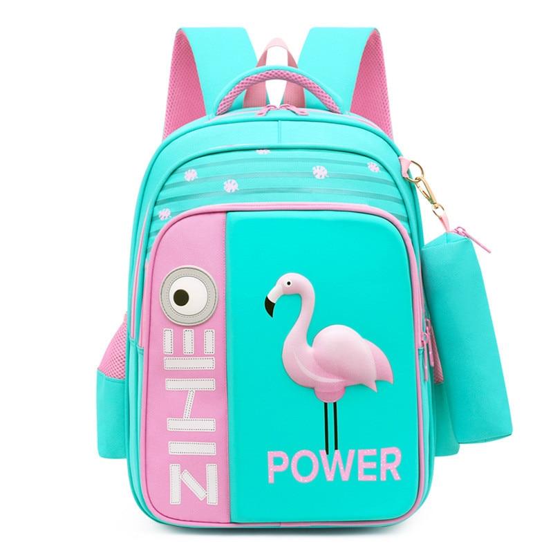 2020 New 3D Flamingo School Bags For Girls Boys Cartoon Shark Backpack Children Orthopedic Backpacks