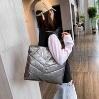 large winter cotton women shoulder bag designer padded space handbag fashion big tote female filling down shopper bags for women