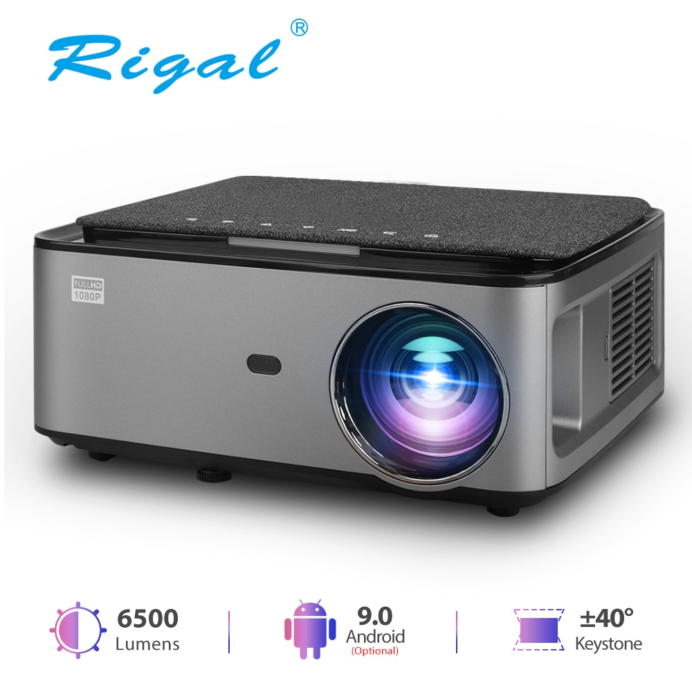 Get Rigal RD828 1080P Full HD LED Projector WIFI Android 9.0 Projetor Native 1920 X 1080P 3D Home Theater Smart Phone Video Beamer