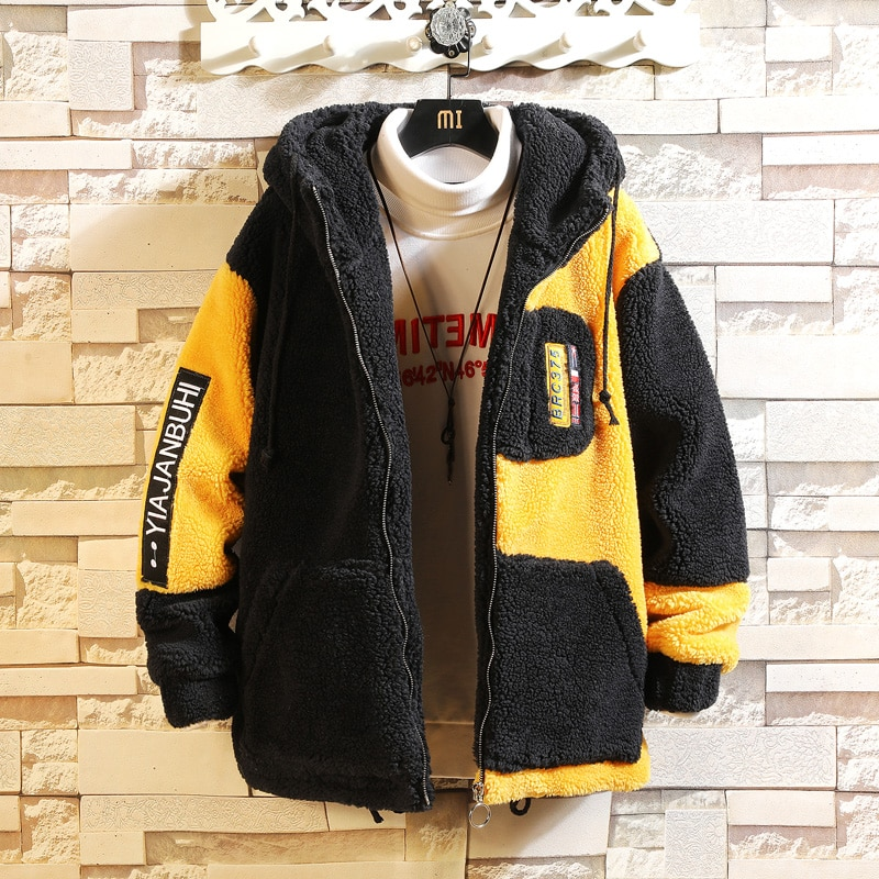 Bomber Jacket Black White Men'S Winter Thick Warm Fleece Teddy Coat For SportWear Fleece Hoodies Coat