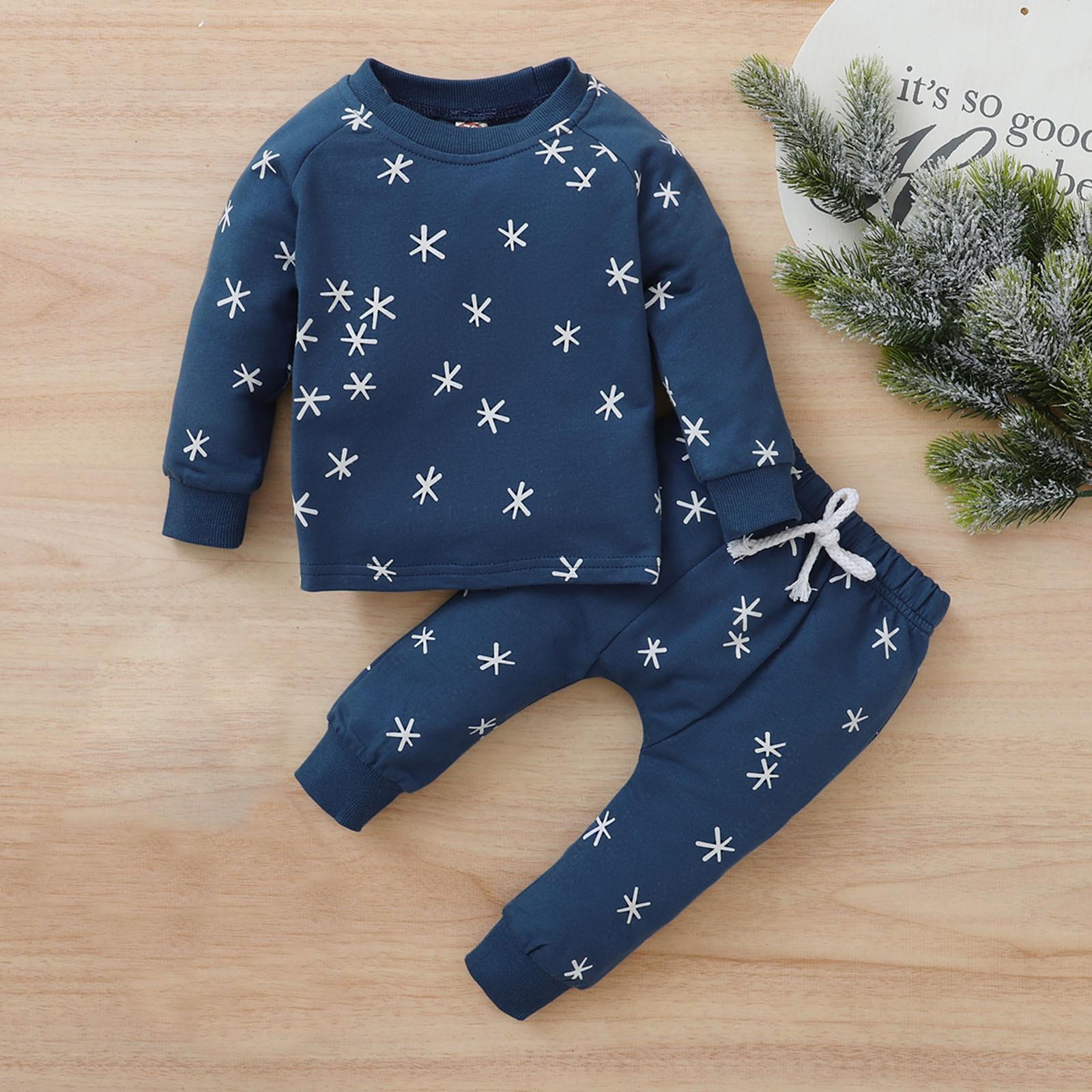 SZYADEOU Home Set Toddler Kids Baby Boys Ang Girls Long Sleeve Print Tops+Start Pants Set For 0-24 Months Костюм младенца
