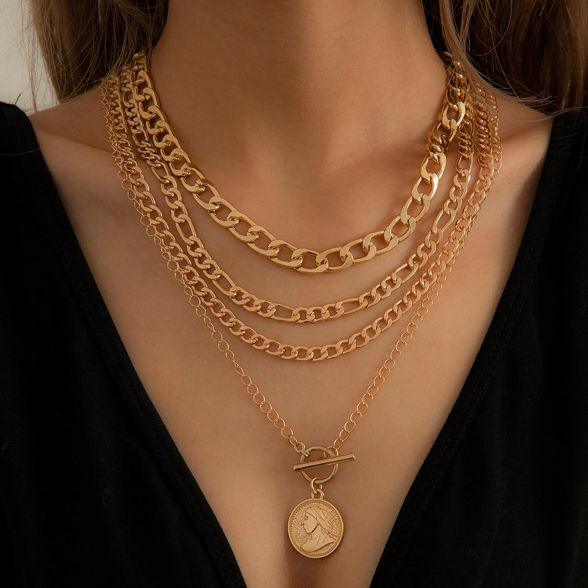 Ingemark Vintage Coin Avatar Pendant Choker Necklace for Men Women Goth Chain Punk Grunge Steampunk Jewelry Accessories