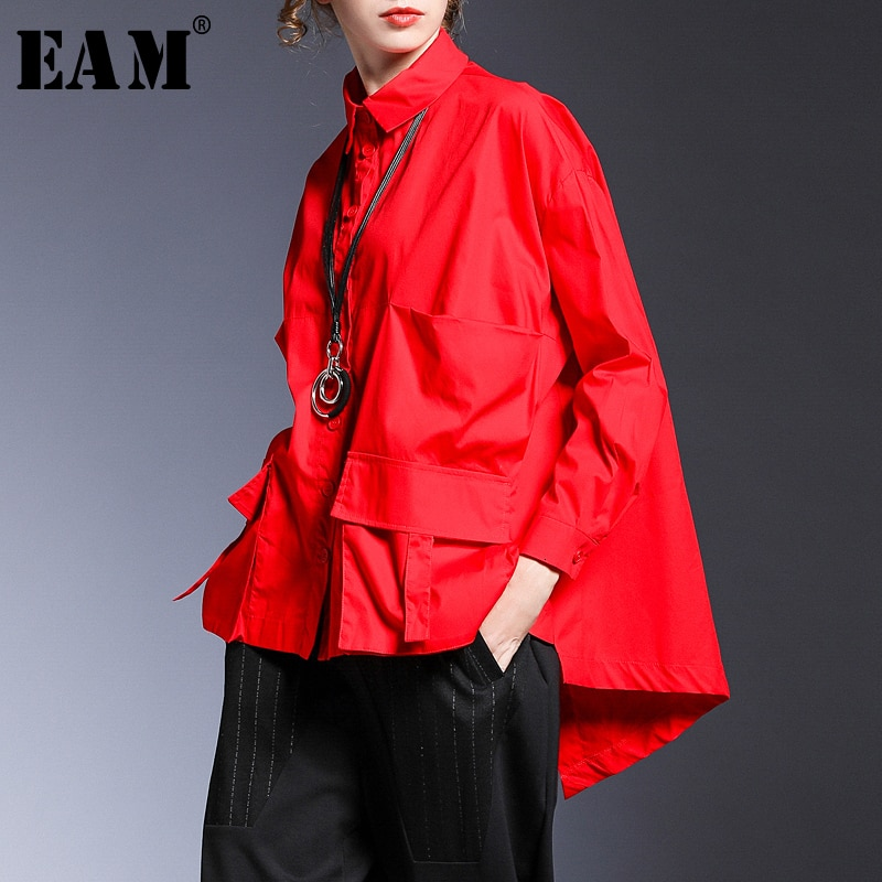 [EAM] Women Pocket Spliced Oversize Irregular Blouse New Lapel Long Sleeve Loose Fit Shirt Fashion Tide Spring Autumn 2021 1B236