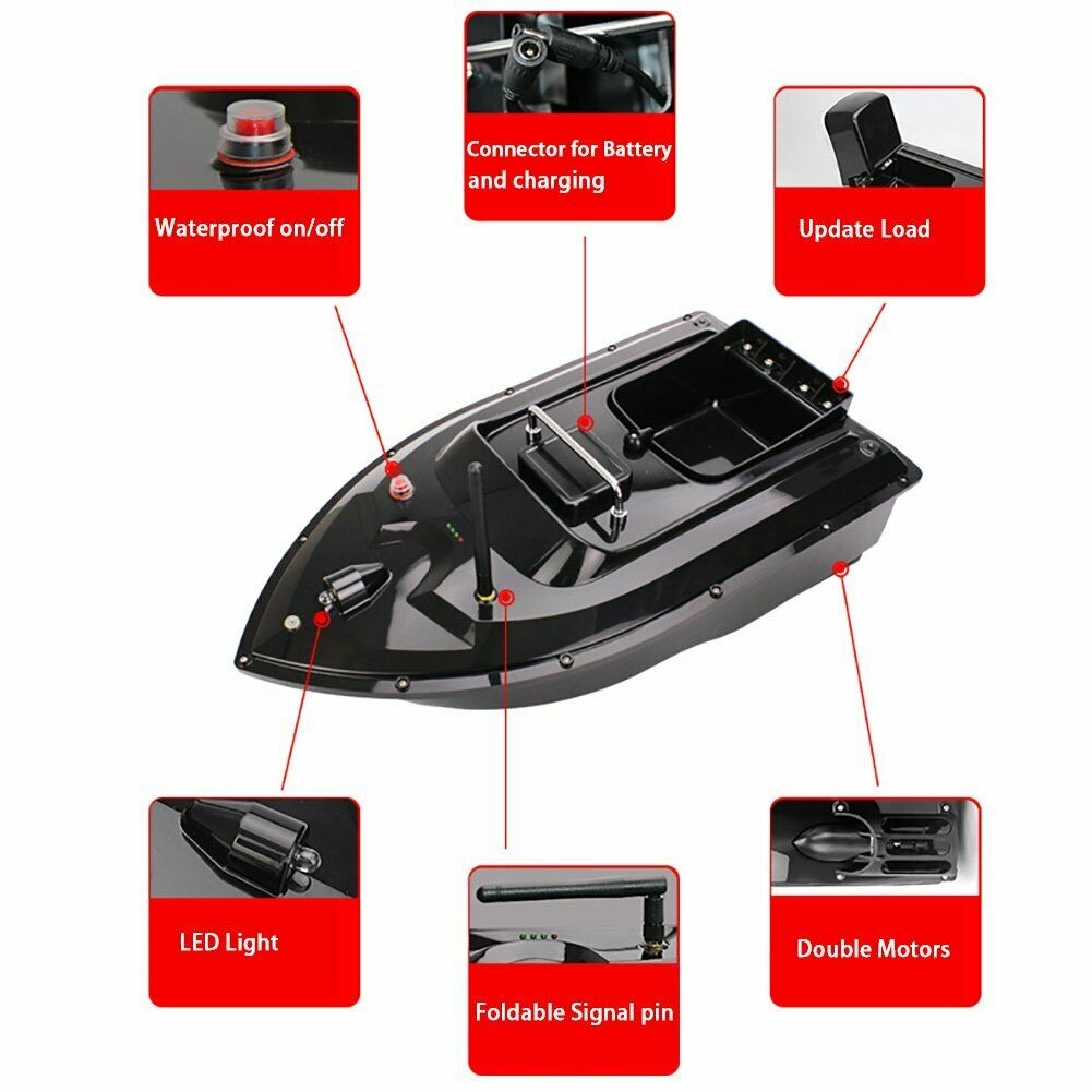 VERY100 500M Wireless Fishing Bait Boat  RC Toy Boat Carp Fishing Single Hand Control Hook Post Boat with Carrybag enlarge