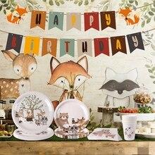 Bois animaux enfants décorations de fête danniversaire forêt Safari Jungle fête fournitures fille garçon bébé douche bois anniversaire déco
