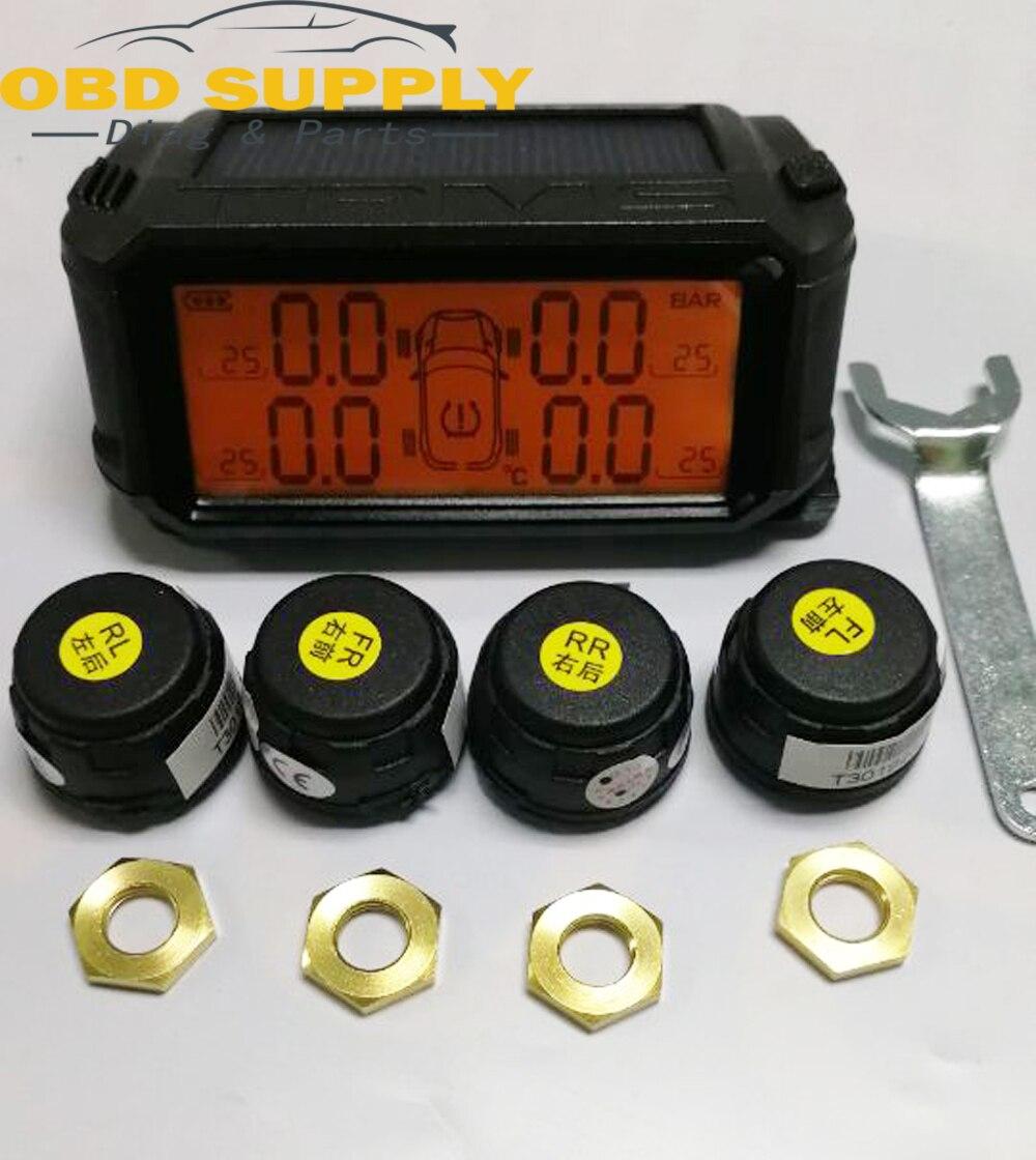 2018 nuevo TPMS para monitoreo de presión de neumáticos de coche sistema de energía Solar inalámbrico Smart Tire sensores externos sistemas de alarma de seguridad de coche