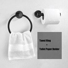 2Pcsห้องน้ำฮาร์ดแวร์ผ้าขนหนูผ้าขนหนูสีดำและผู้ถือกระดาษห้องน้ำสแตนเลสห้องน้ำผ้าเช็ดตัวผู...