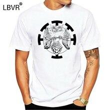 Chemise hibou-dessin à la main grand hibou à cornes-Art Original sérigraphie t-shirt hommes t-shirt