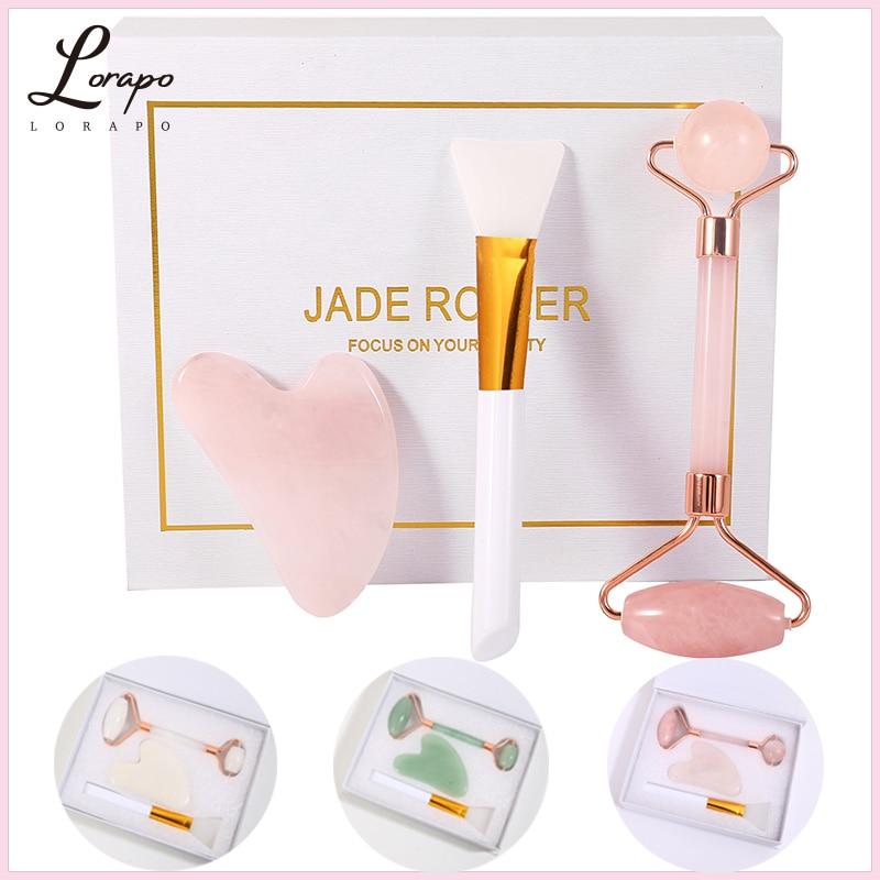 Rouleau de massage Facial en Quartz Rose naturel, 3 pièces, Lifting du visage, soins de la peau, Jade, brosse pour masque de grattage, ensemble de soins de la peau
