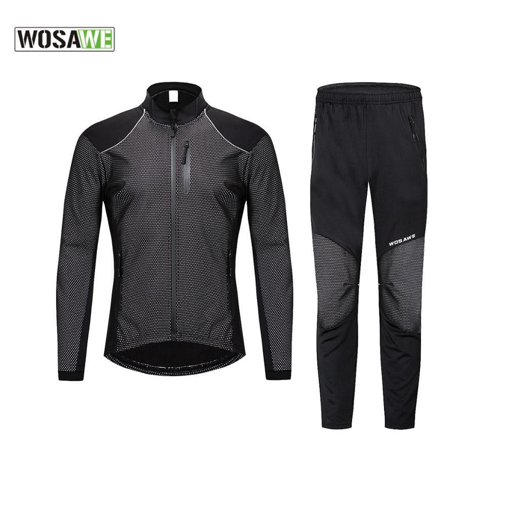 WOSAWE Winter Cycling Motorbike Clothing Set Mtb Bike Jacket Keep Warm Windproof Pants Reflective Jacket Trouser Bicycle Clothes