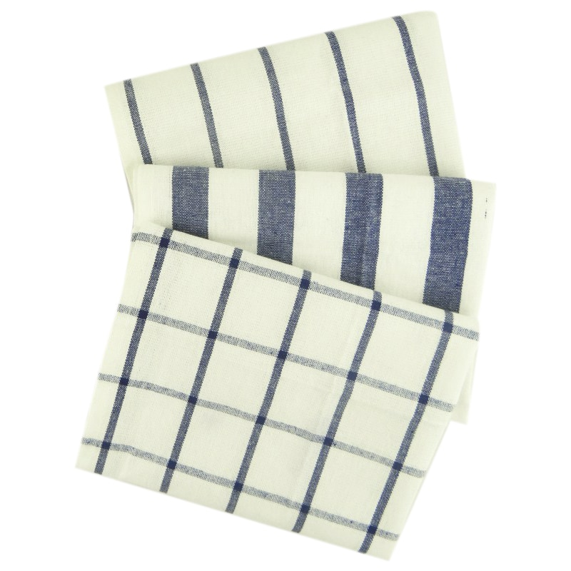 3 piezas de alta calidad azul blanco a rayas a cuadros paño de cocina toalla servilleta mantel de mesa 100% tejido de algodón