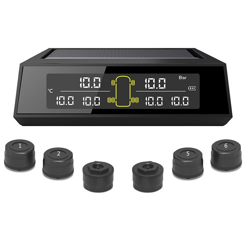 Sistema de supervisión de presión de neumáticos inalámbrico, sistema TPMS Solar con pantalla LCD, 6 sensores externos para autobús, camión y coche