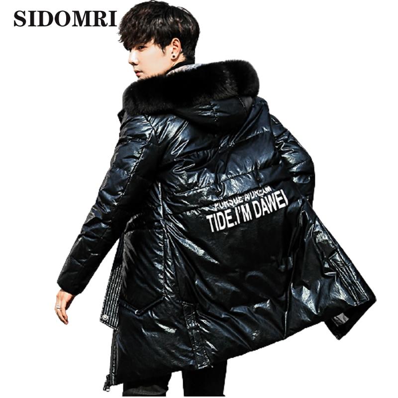 New down jacket fashion trend men's coat warm winter coat long fox wool collar white duck down coat high quality
