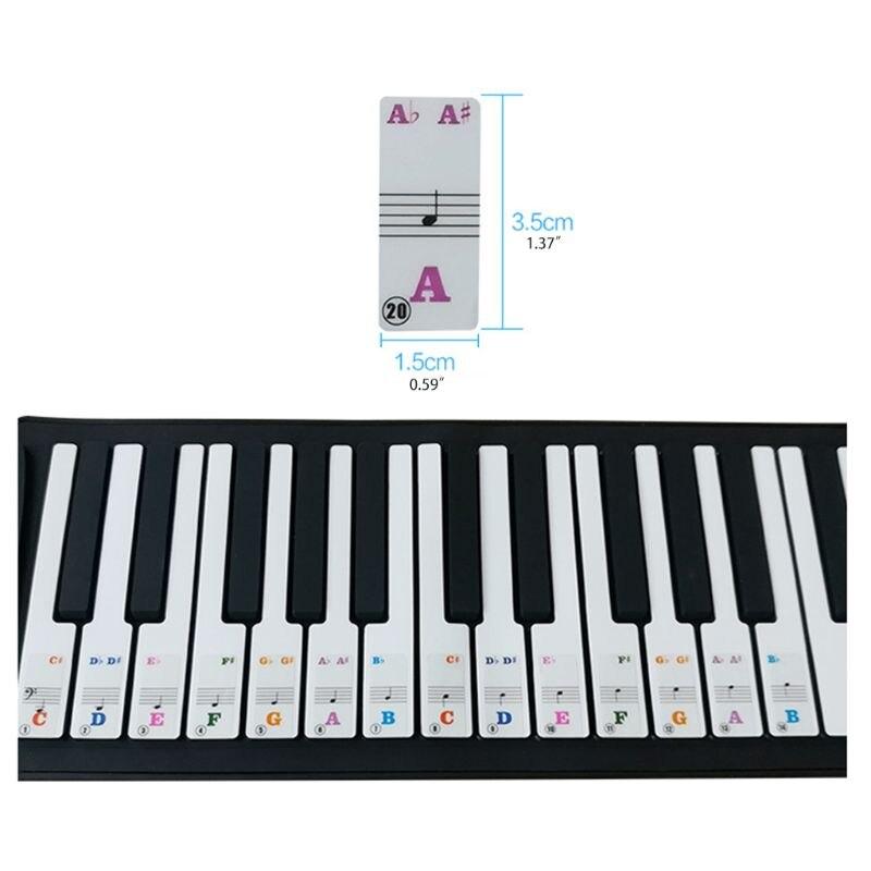 Adesivos de teclado de piano especialmente para 61 teclas. colorido carta maior removível 24bd