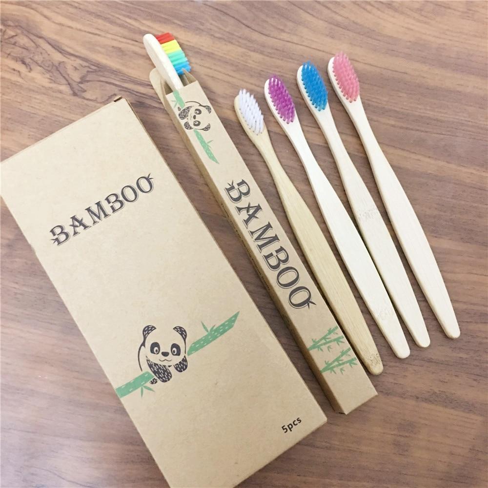Cepillos de dientes de bambú para adultos, cerdas suaves, respetuosos con el...