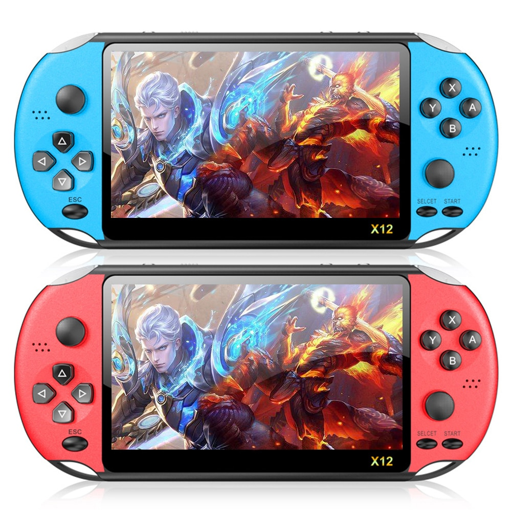 Blue Red X12 PLUS 5.1 Inch Handheld Video Game Console 8GB Built-In 2000 Games For PSP FC GBA GBC MD NES SFC PS Game Player