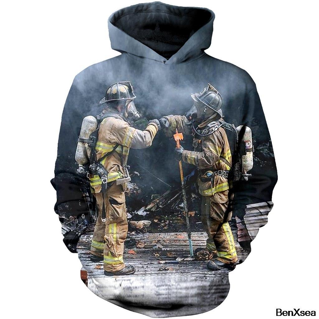 DOUBLE FIRE FIGHTER DOUBLE SMOKE 3D HOODIES Hip Hop Famous Brand Sweatshirt