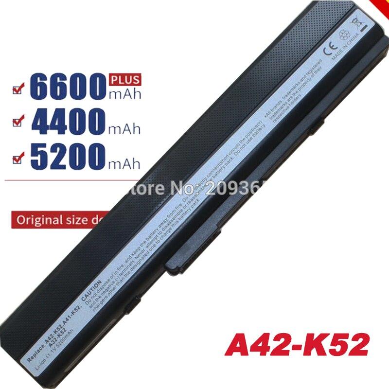 6 celdas batería de portátil para Asus Pro5IJK Pro5ij Pro67 Pro8C X42 X42D X52JB X52JC X52JE X52JG X52JK X52JR X52N A32-K52 A32-K42 rápido