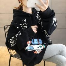Brand Women Hoodies 2019 Autumn Winter Plus Size 2XL Kawaii Print Top Loose Korean Style Long Sleeve Casual Black Clothing Thick