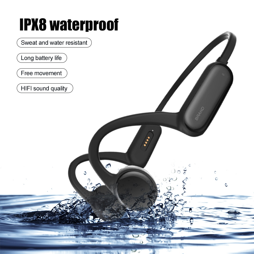 TWS العظام التوصيل IPX8 سماعات مقاومة للماء مع هيئة التصنيع العسكري بلوتوث سماعات رأس لاسلكية الرياضة عالية الجودة سماعات للهواتف الذكية
