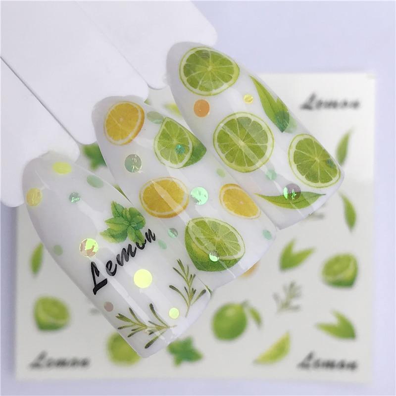 ZKO 1 Sheet Fruit Design Nail Art Sticker Water Transfer Decals Summer Watermelon Tattoos Slider Color Tips Decoration