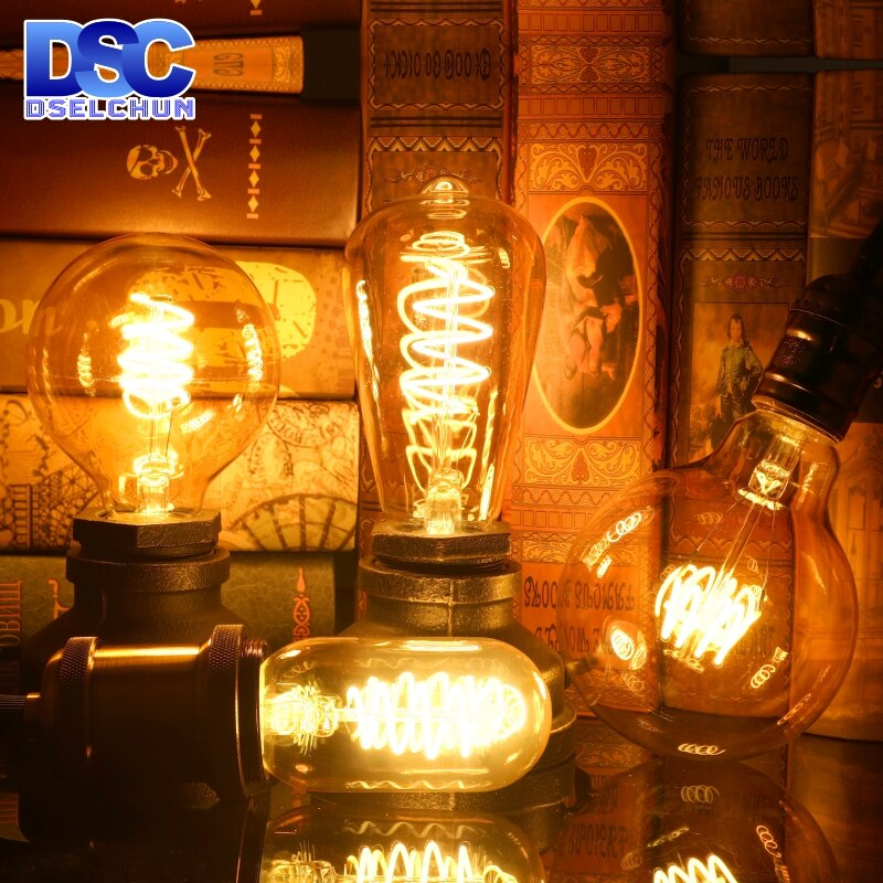 E14 E27 Retro Espiral LEVOU Luz Filamento da Lâmpada 4W 2200K 220V-240V C35 A60 T45 ST64 T185 T225 G80 G95 G125 Vintage Edison Lâmpada LED