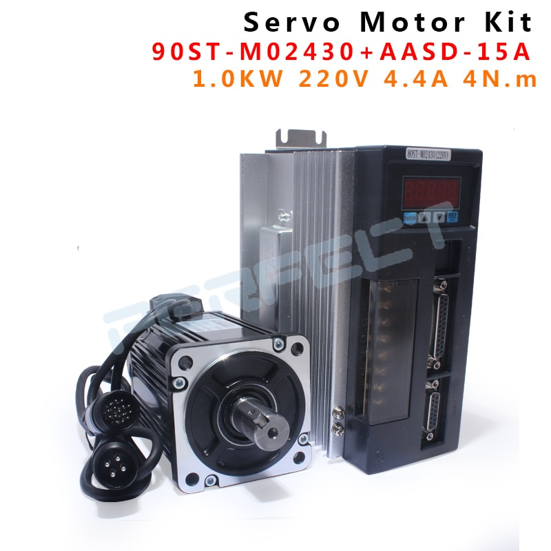 90ST-M02430 220V 750W AC servomotor 3000RPM 2,4 N. m 0.75KW servomotor monofásico ac drive imán permanente emparejado controlador AAS
