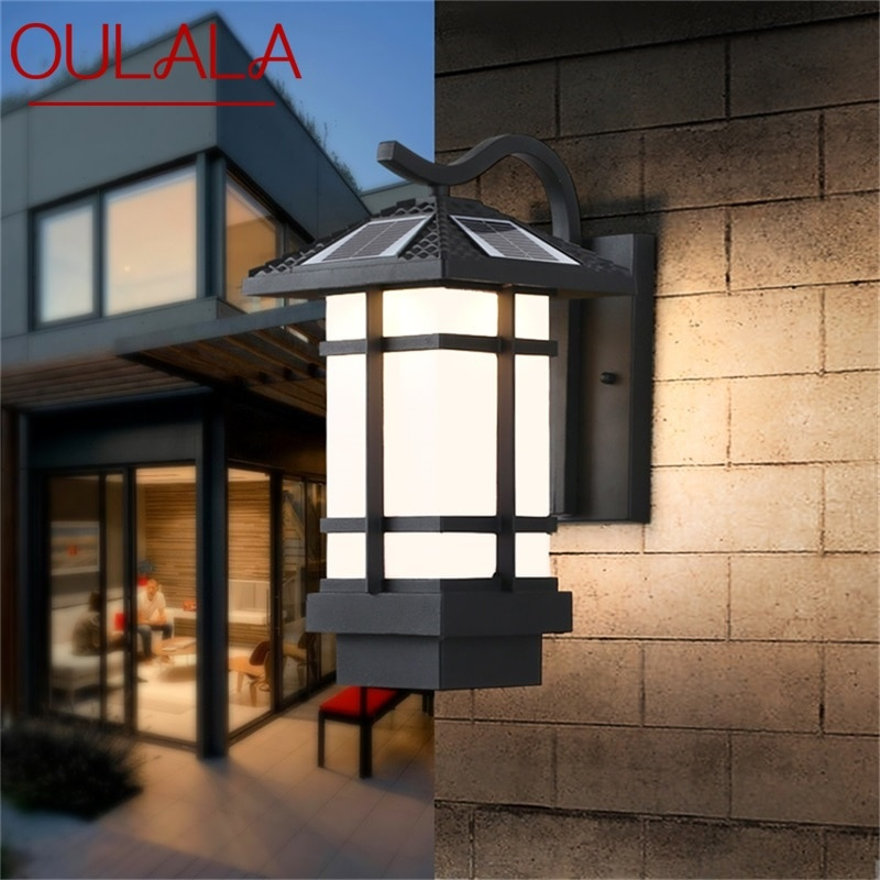 OULALA Solar Wall Light Fixture Outdoor Modern LED Sconce Waterproof Patio Lighting  For Porch Balcony Courtyard Villa Aisle