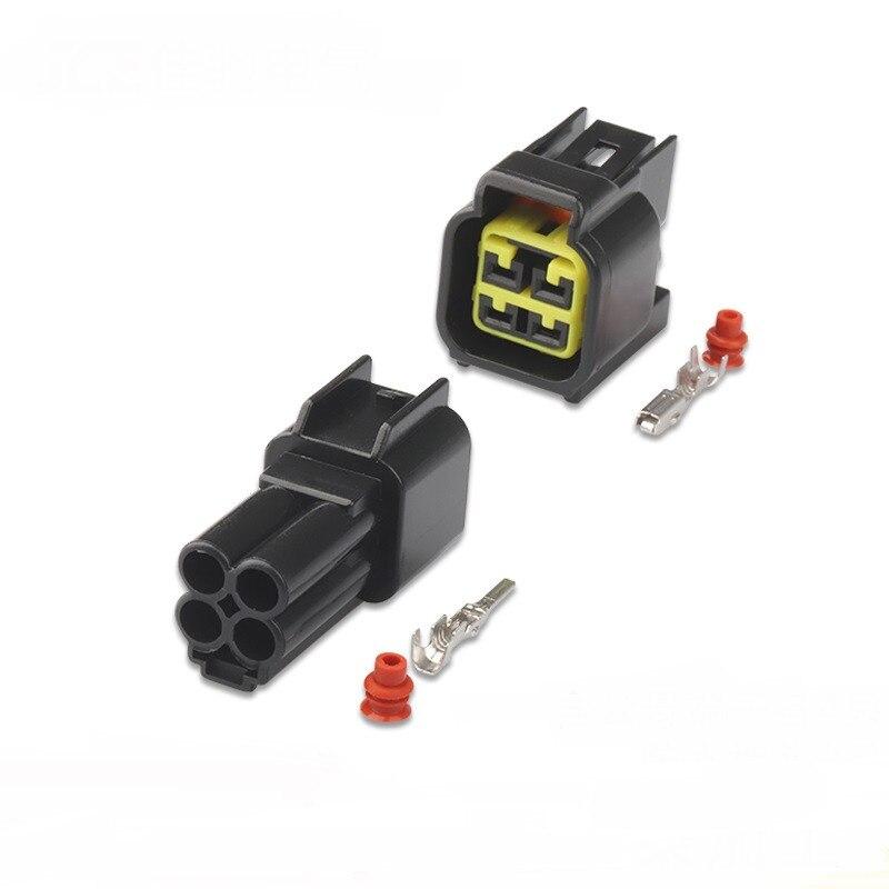100 sets FW-C-4M-B FW-C-4F-B negro Furukawa 4 Pin forma hombre impermeable eléctrica bobina de encendido enchufe de conector de cable