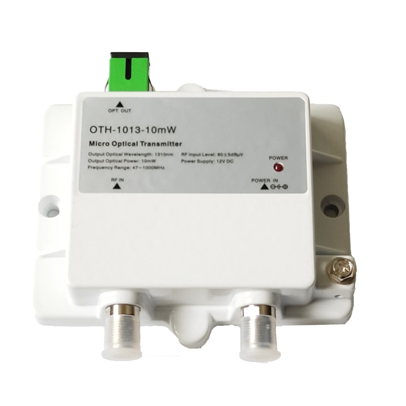 Micro Optical Transmitter OTH-1013-10mW FTTH 12V CATV Mini Micro Transmitter 47-1000MHZ 1310nm/1550nm with SC/APC Optical fiber