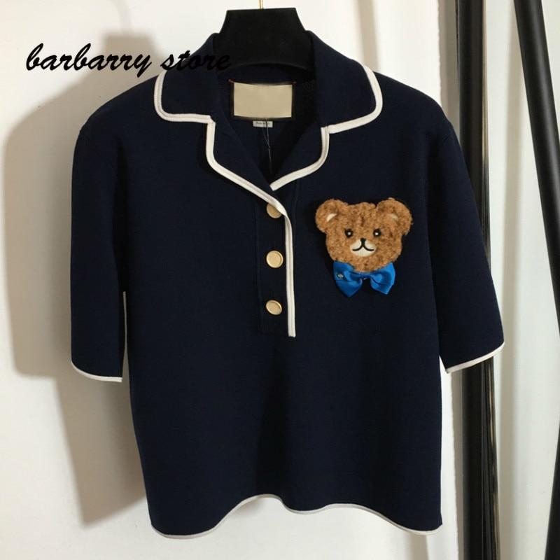 2021 luxury brand bow bear print women's top temperament Lapel versatile metal button loose casual short sleeve pattern T-shirt