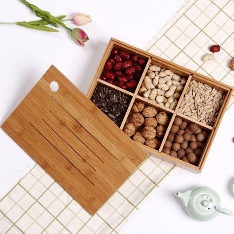 Caja de madera para servir frutos secos, caja de caramelos con tapa, bandeja dispensadora de almacenamiento de aperitivos para decoración de boda de fiesta en casa 2020