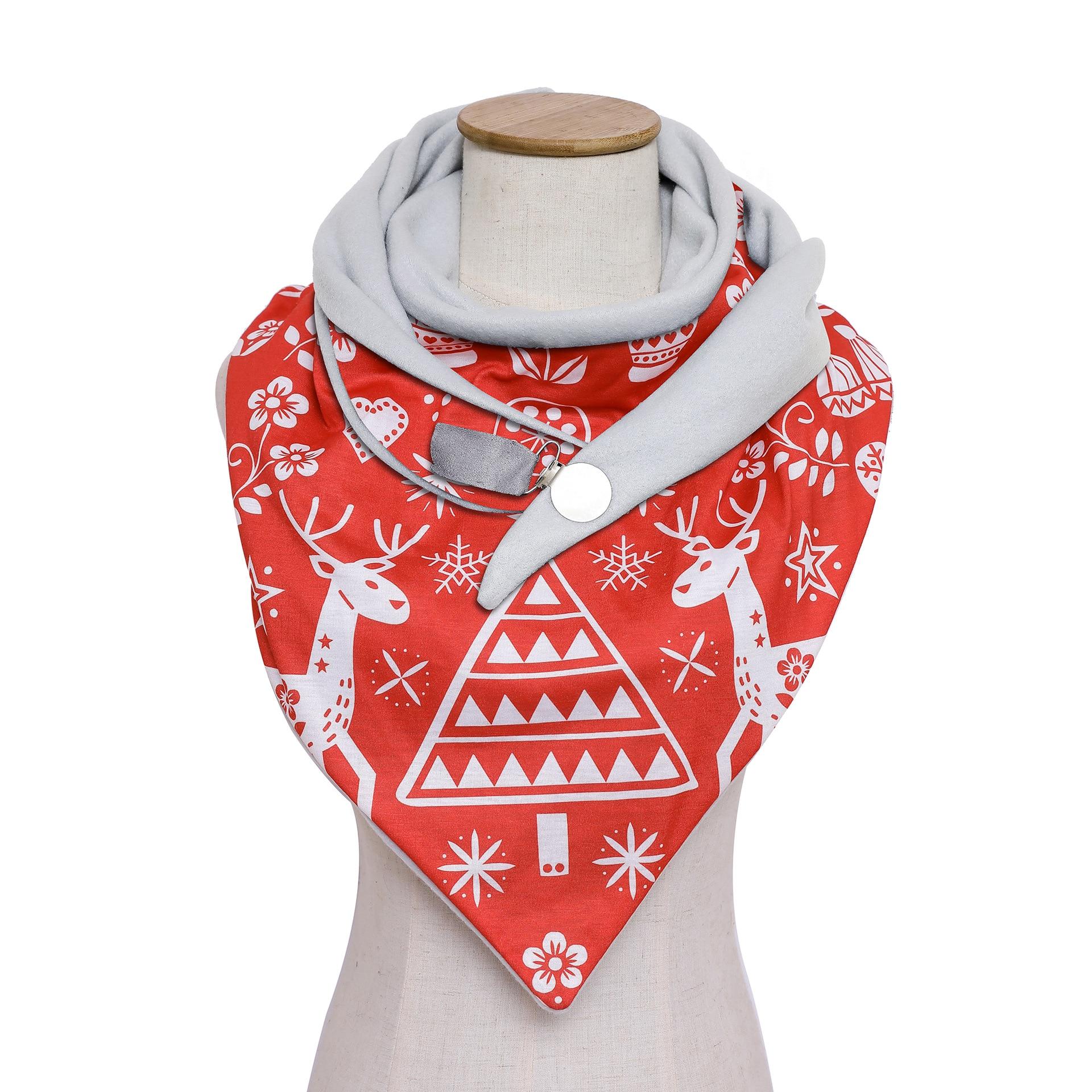 2020 Winter Christmas Scarf for Women Warm Elk Snowflake Print Triangle scarves Female Shawls Echarpe Foulard snood scarfs elk snowflake geometric print christmas hoodie