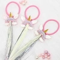 ncmama unicorn elastic hair band with long wig girls korean style hair ring cartoon glitter rainbow ponytail holder rubber band