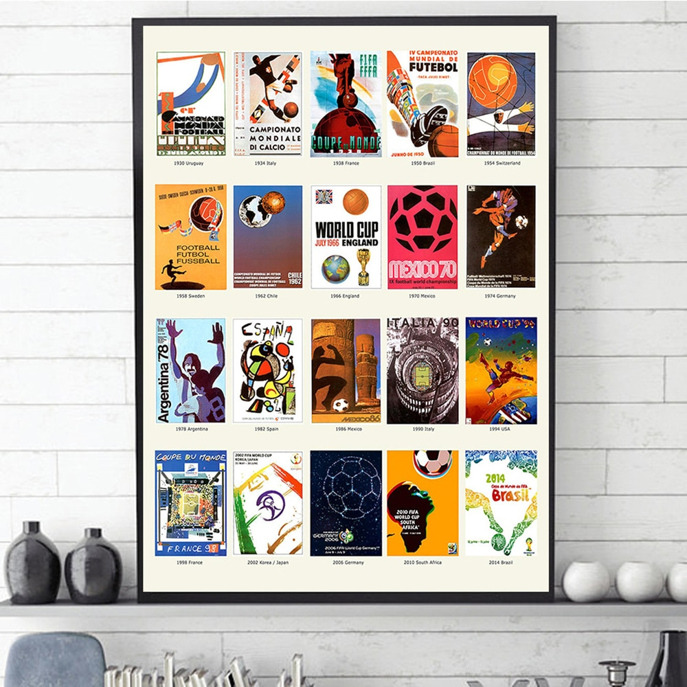 The World Cup Ball Poster and Print Football Poster Evolution of Soccer Wall Art Pictures Canvas Painting For Living Room Office