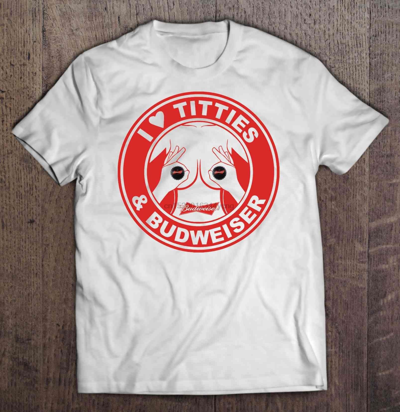 Men Funny T Shirt Fashion tshirt I Love Titties & Budweiser Women t-shirt