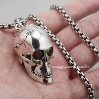 solid red cz eyes skull 925 sterling silver mens biker rock punk pendant 8c013