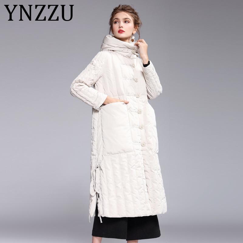 YNZZZU 2019 New Winter Elegant Women's Down Jacket Long with Hooded Windproof 90% White Duck Down Coat Ladies Split Jacket A1144