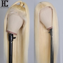 30 Inch Middle Part Glueless 613 Blonde Lace Wig Pre Plucked Human Hair Wigs 13x1 Brazilian Straight